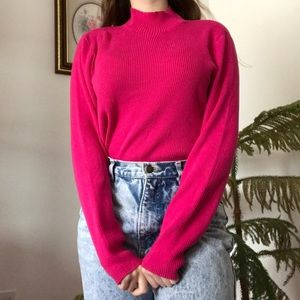 Sweaters - retro ribbed vibrant hot bright pink turtleneck